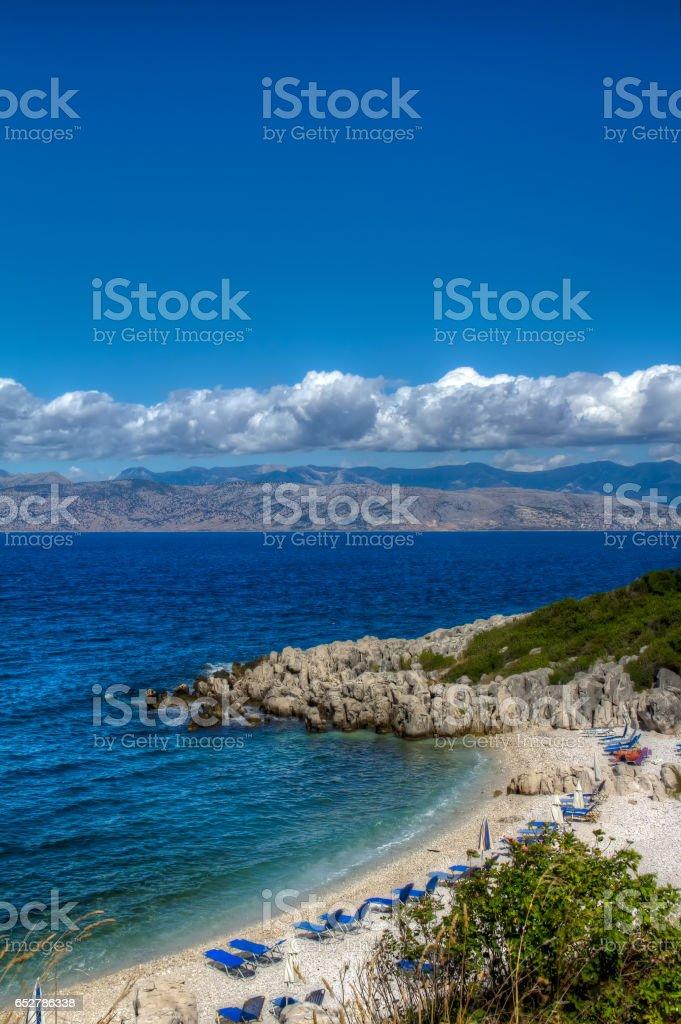 The beach coast of Greece. The Ionian Sea. Comfortable family vacation. stock photo
