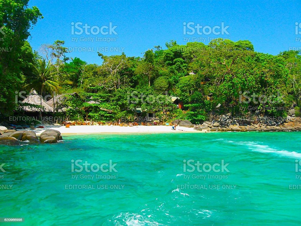 Phi Islands, Thailand - February 04, 2010: The beach houses stock photo