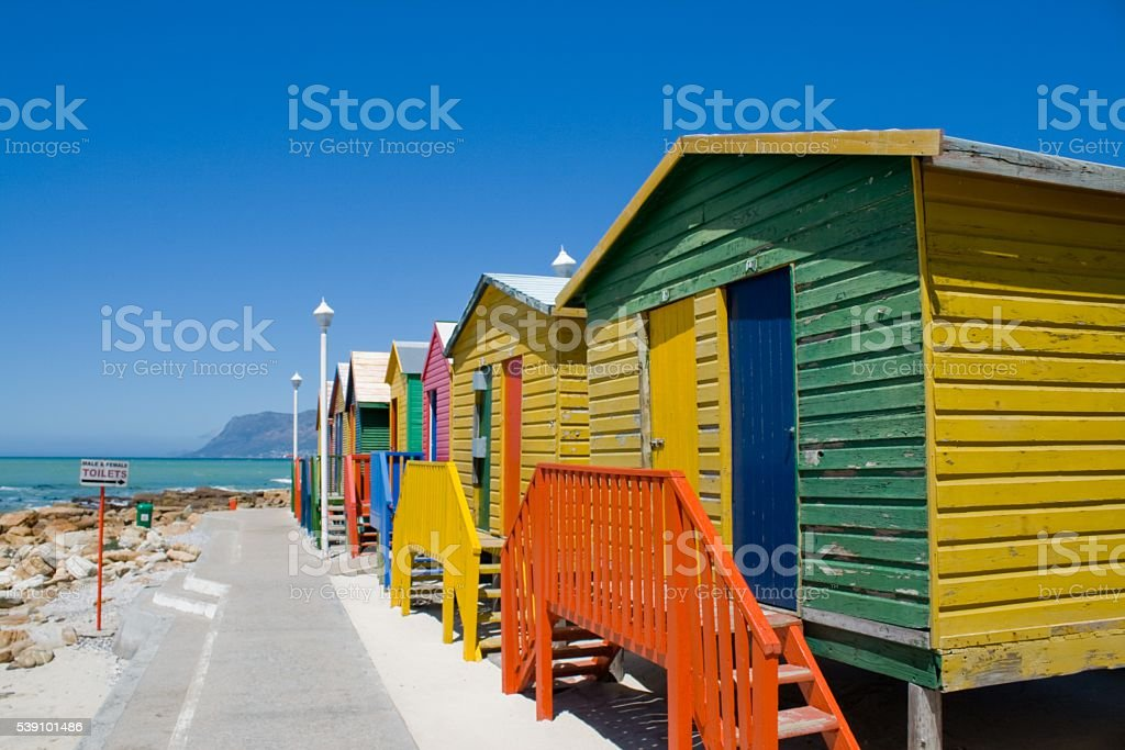 The beach huts of Muizenberg, Cape Town. stock photo