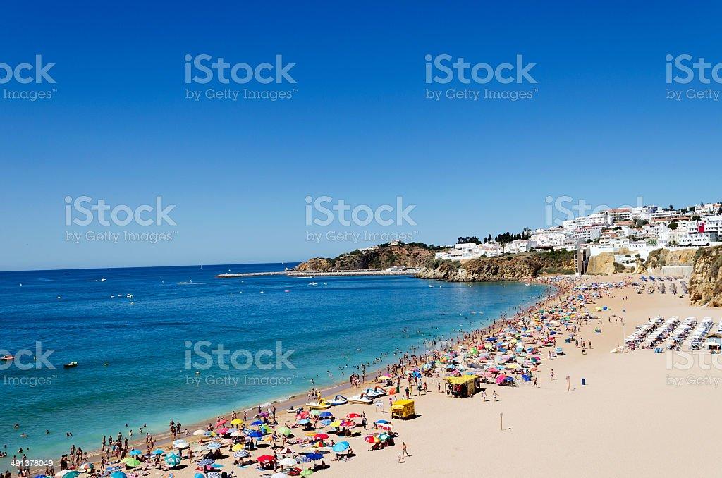 The beach in Albufeira stock photo