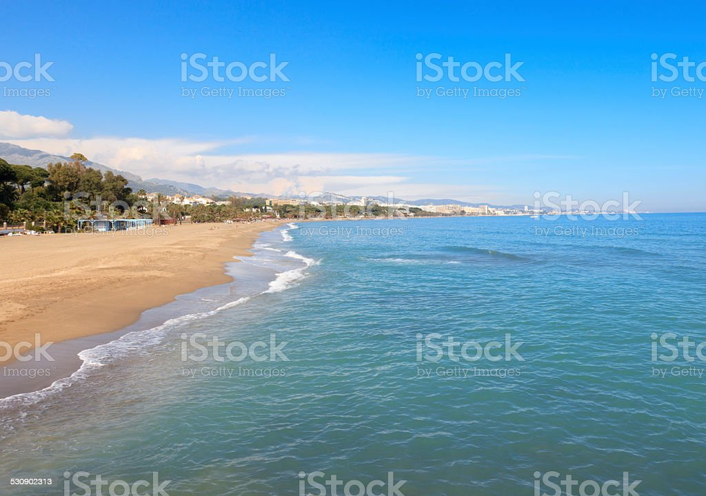 The beach in Marbella, Spain stock photo
