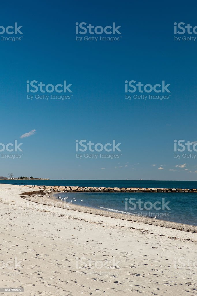 The beach in the Long Island sound in Connecticut. royalty-free stock photo