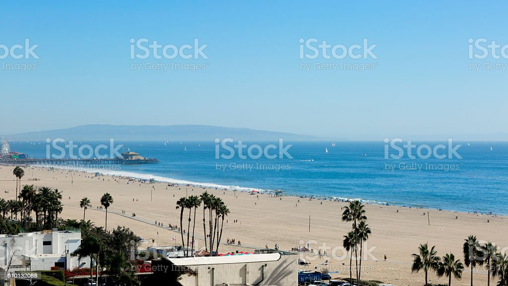 The beach is in the Santa Monica, California. stock photo