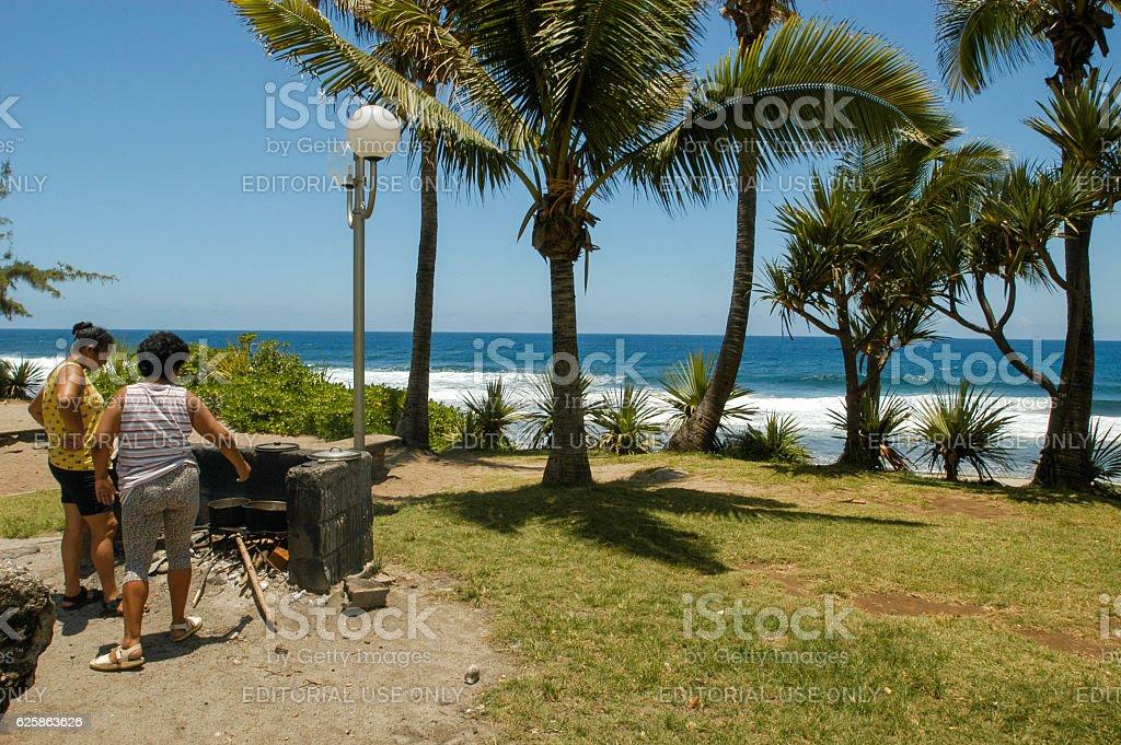 The beach of Grand Anse in La Reunion island, France stock photo