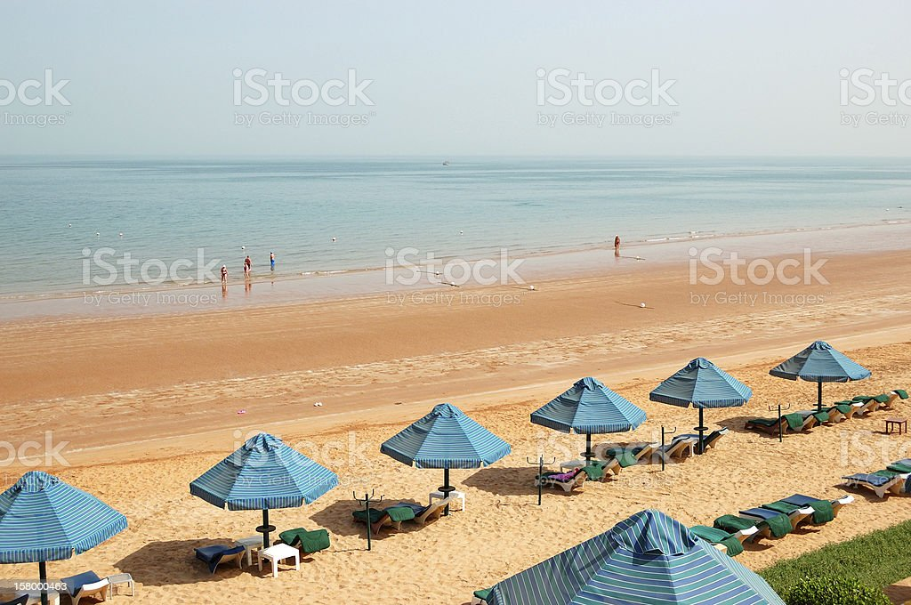 The beach of luxury hotel, Ras Al Khaimah, UAE stock photo