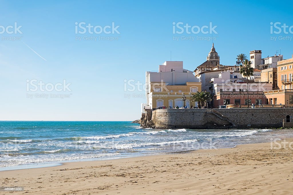 The beach of Sitges in Catalonia stock photo