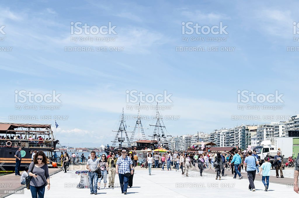 The beach of Thessaloniki. stock photo
