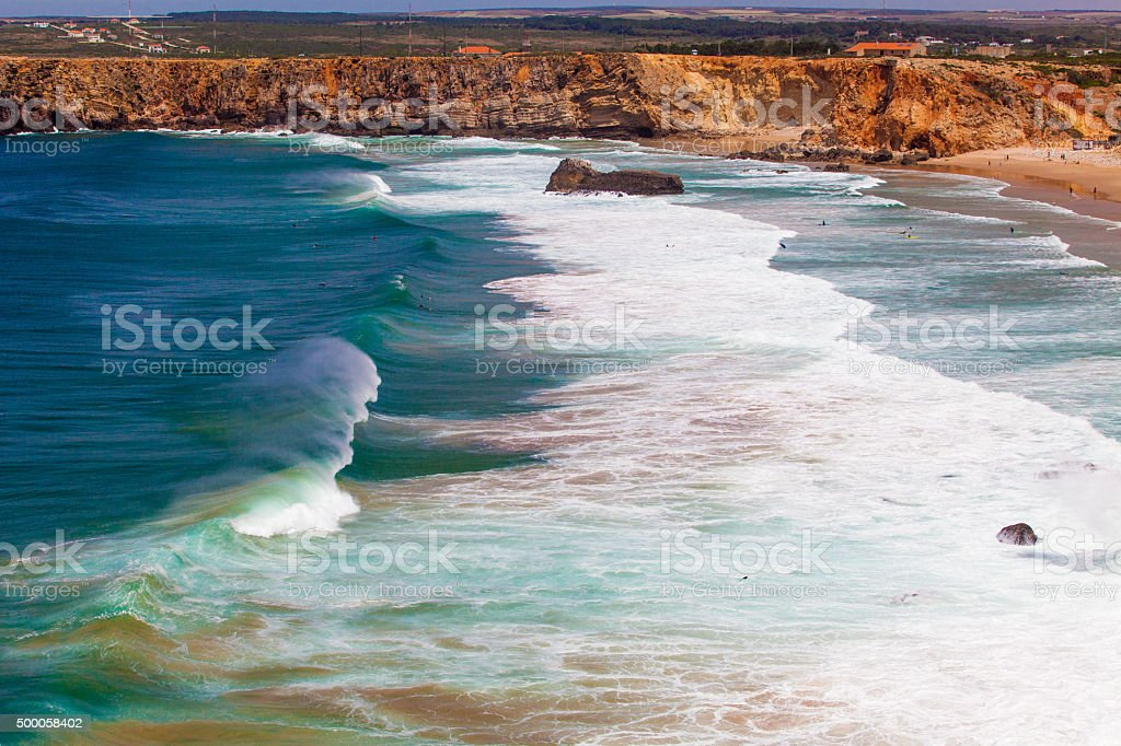 The beach on Algarve coast.  Continental Europe's most South-wes stock photo