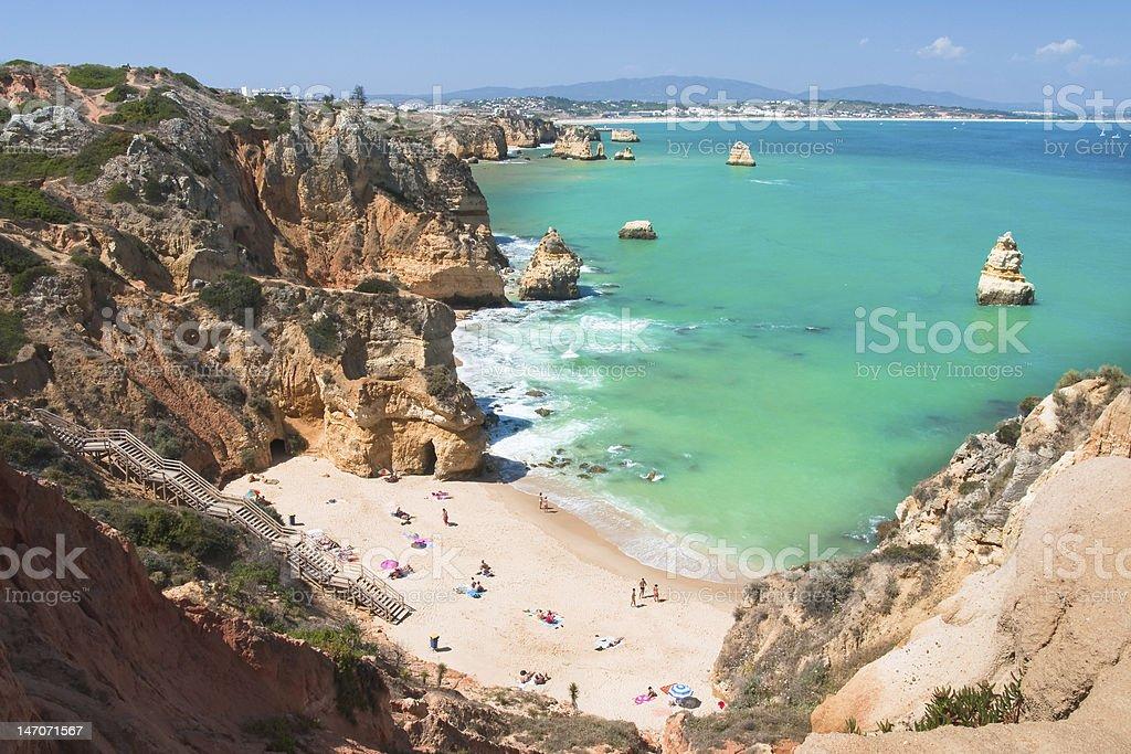 The beach on Algarve coast stock photo
