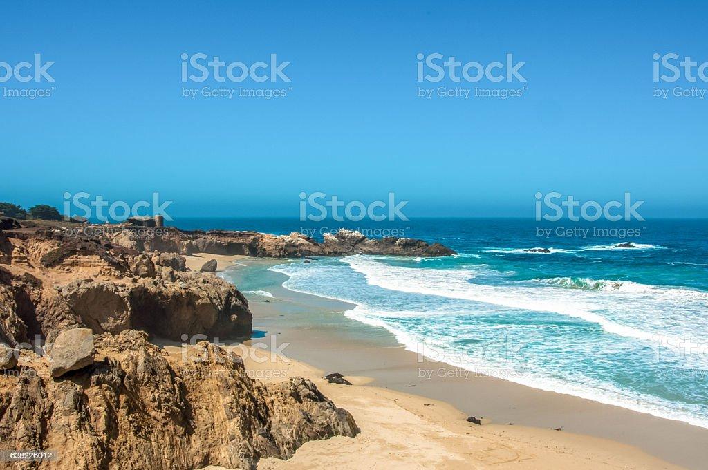 The beach on the Pacific coast in Big Sur, California, USA stock photo