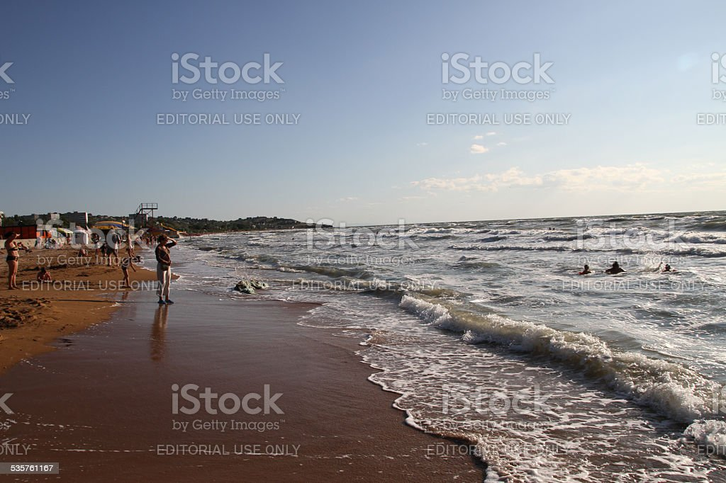The beach town of Shcholkine summer stock photo