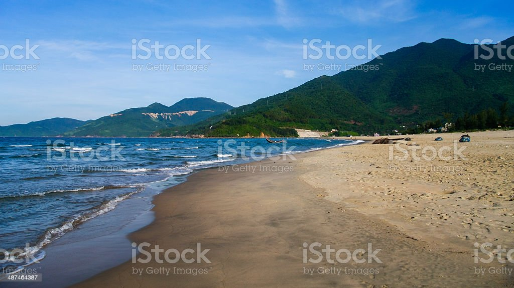 The beach with wave and sand in Lang Co stock photo
