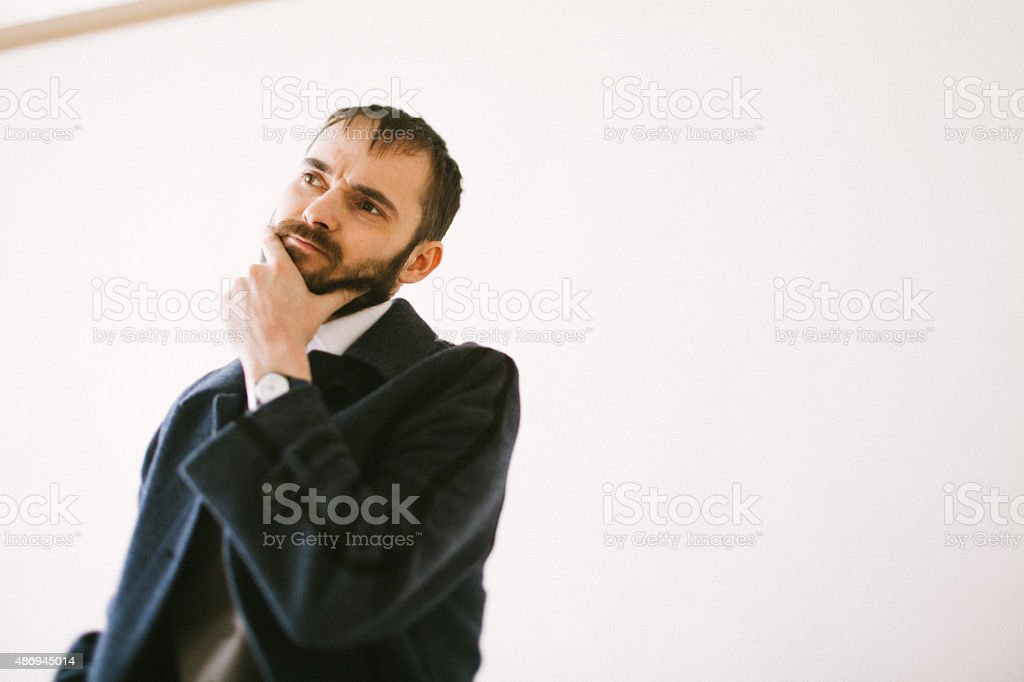 the bearded in doubt stock photo
