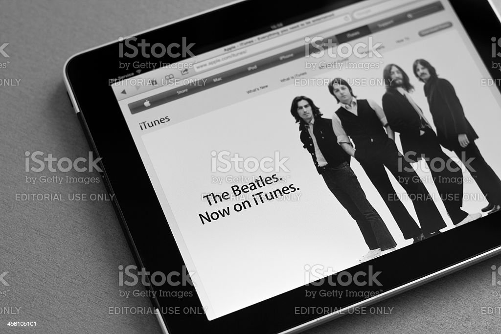 The Beatles now on iTunes royalty-free stock photo