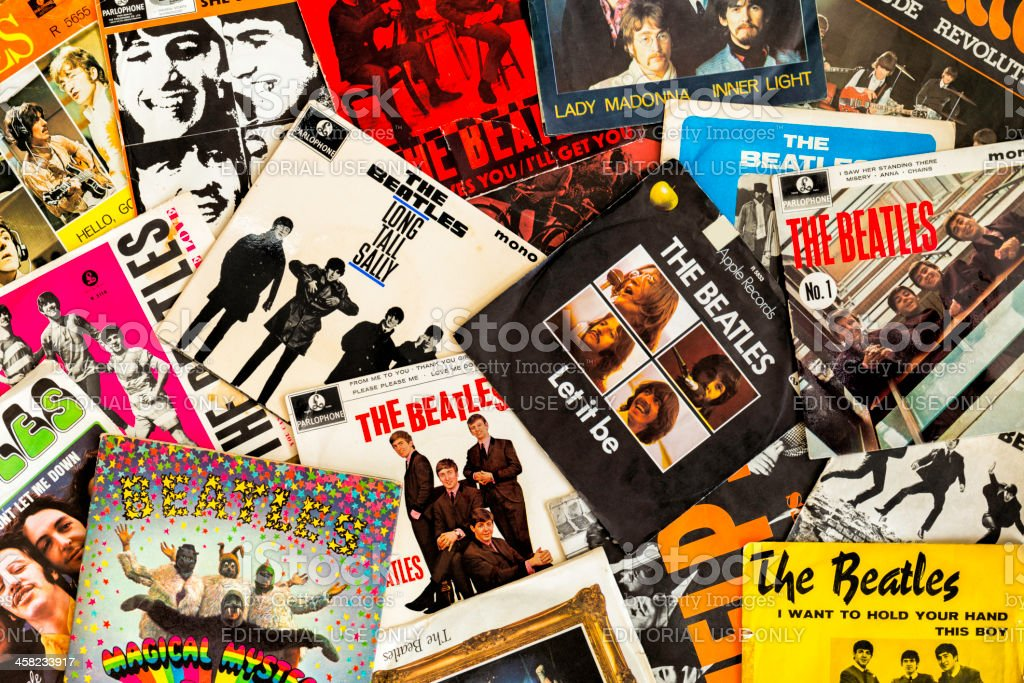 The Beatles single covers stock photo