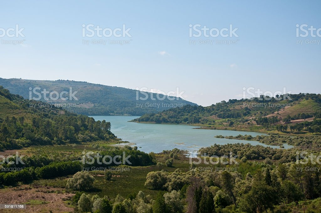 the beautiful and blue dell'Angitola lake near Calabrian lace w stock photo