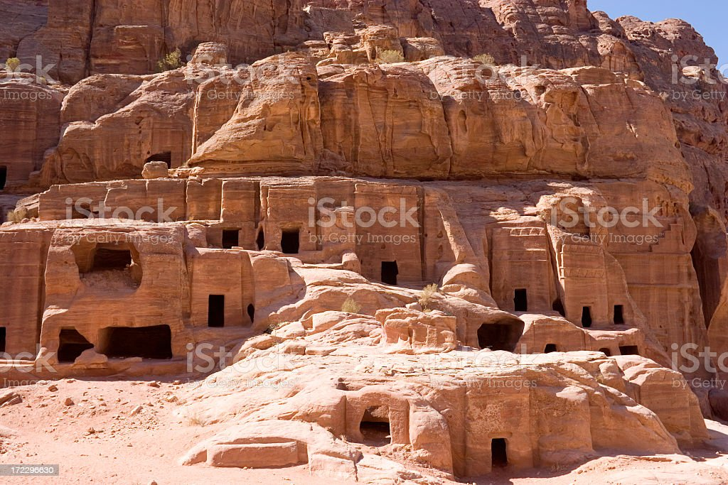 The beautiful and incredible cave tombs, Petra, Jordan royalty-free stock photo