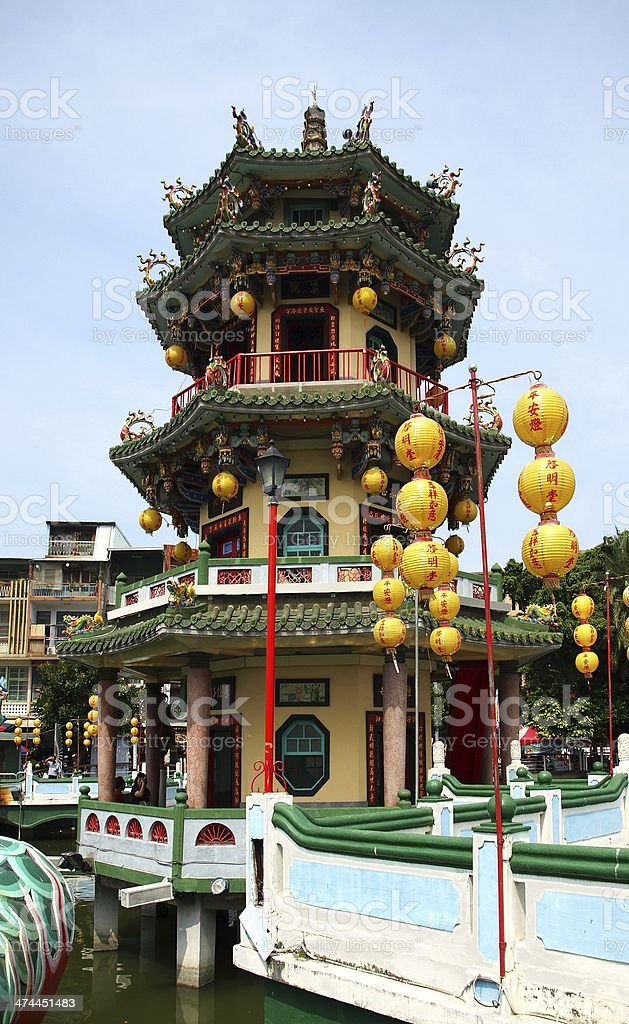 The Beautiful Autumn Pavilion in Taiwan stock photo