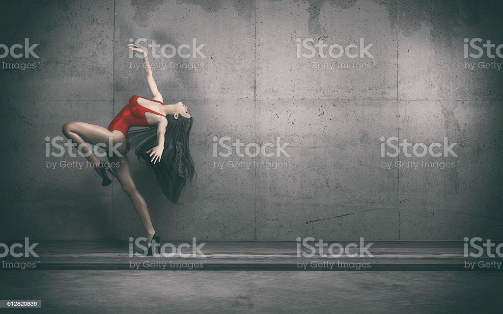 The beautiful ballerina on heels. stock photo