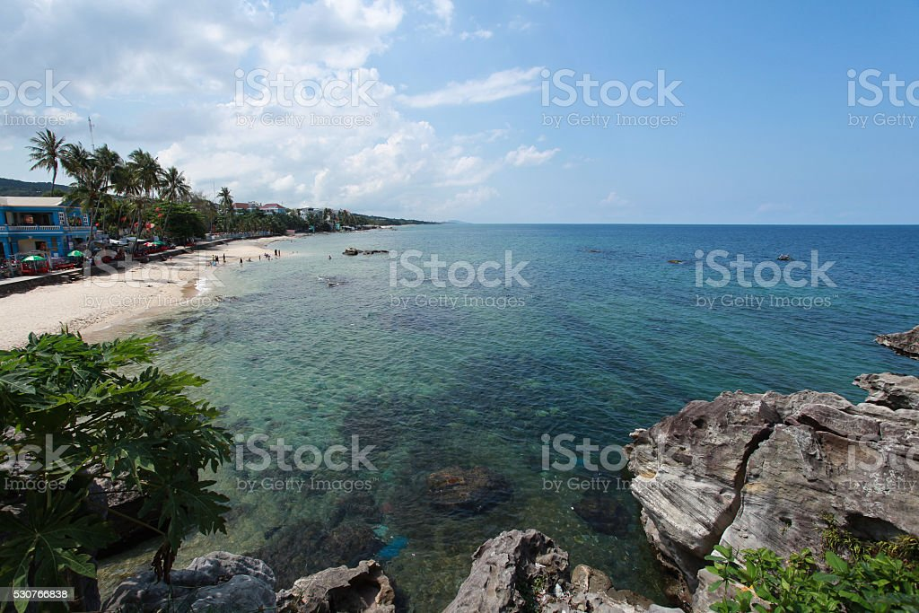The beautiful beach at Phu Quoc Island stock photo