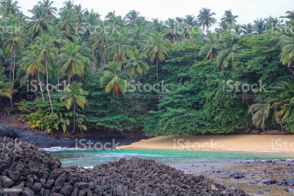 The beautiful beach Piscina in island of Sao Tome and Principe - Africa stock photo
