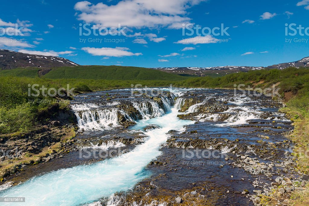 The beautiful Bruarfoss waterfall in Iceland stock photo