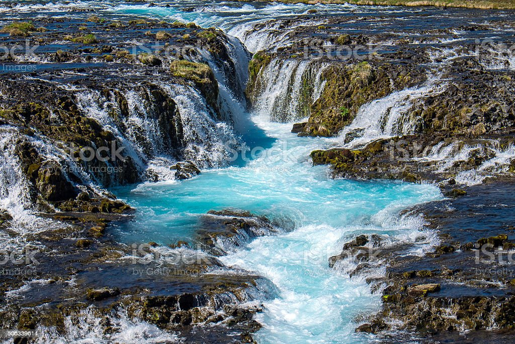 The beautiful Bruarfoss waterfall stock photo