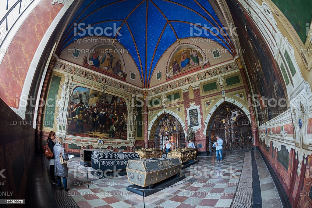 The beautiful chapel of king Christian IV  in Roskilde catheral stock photo