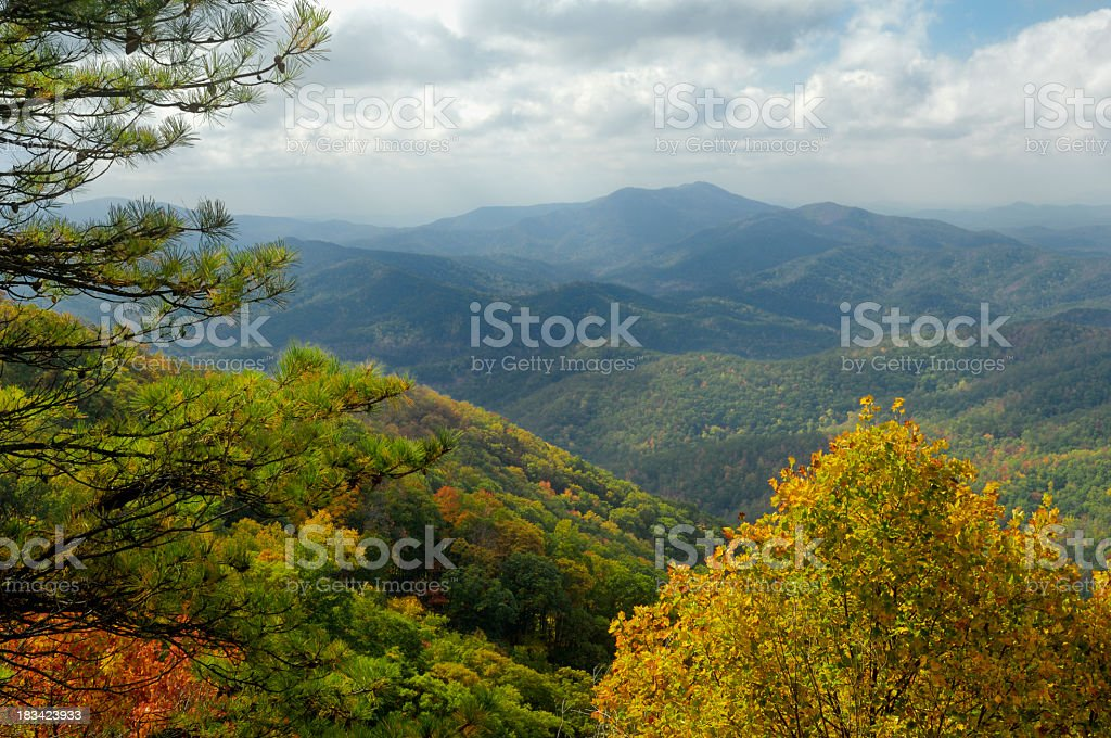 The beautiful Cherohala Skyway in peak autumn colors stock photo