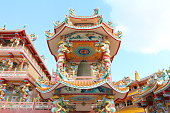 The beautiful Chinese shrine and the blue sky,