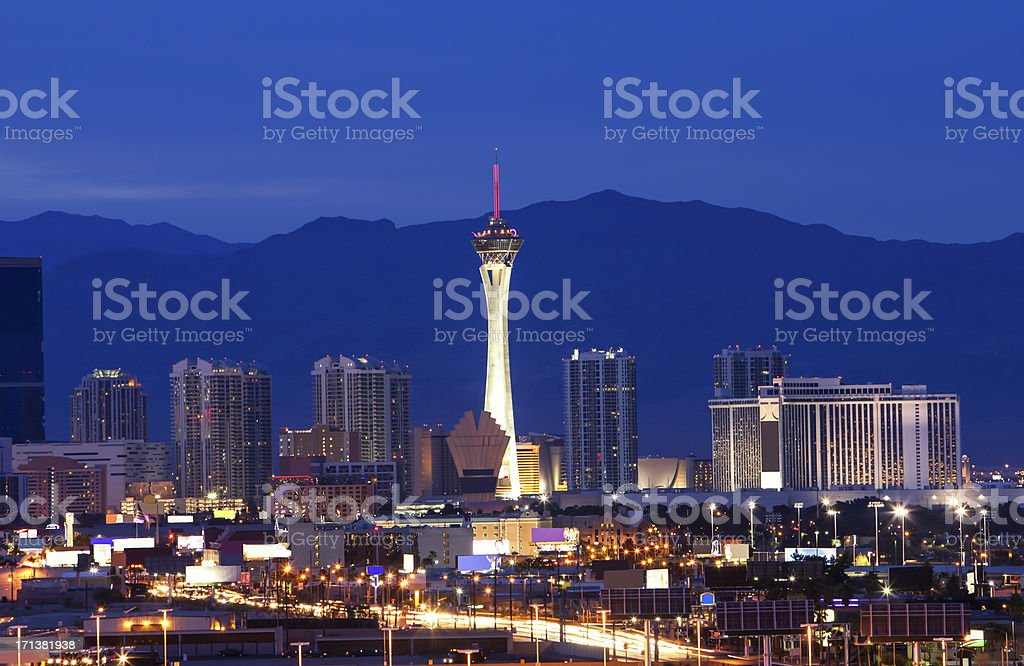 The beautiful City of Las Vegas at dusk stock photo