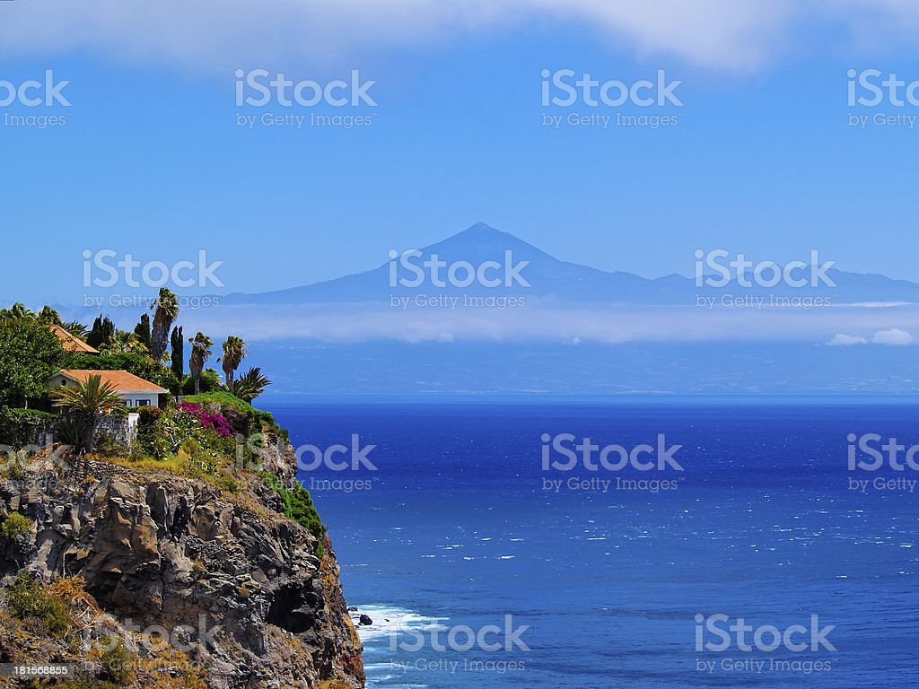 The beautiful Coast of Gomera with the ocean in the back stock photo