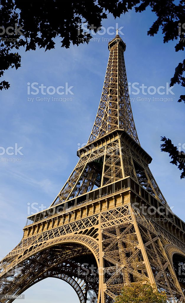 The Beautiful Eiffel Tower Framed by Leaves royalty-free stock photo