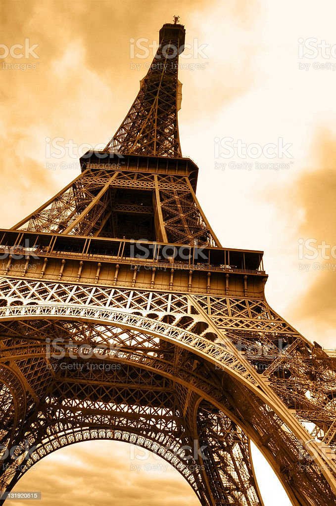 The Beautiful Eiffel Tower in Paris (underside) royalty-free stock photo