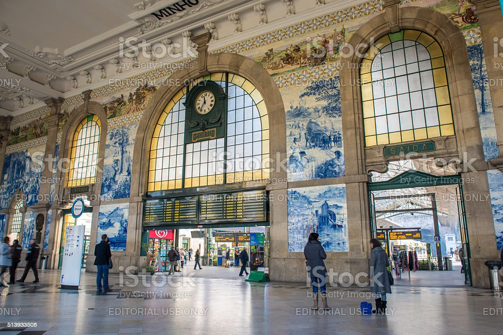 The beautiful entrance of Sao bento train station stock photo