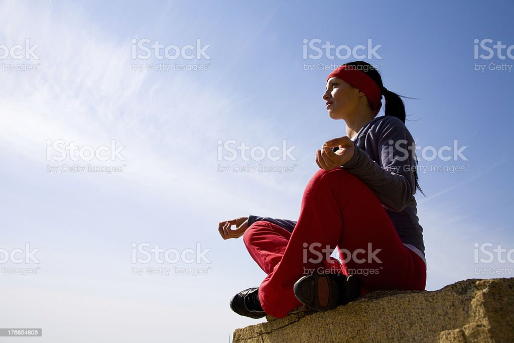 The beautiful girl is engaged in yoga royalty-free stock photo