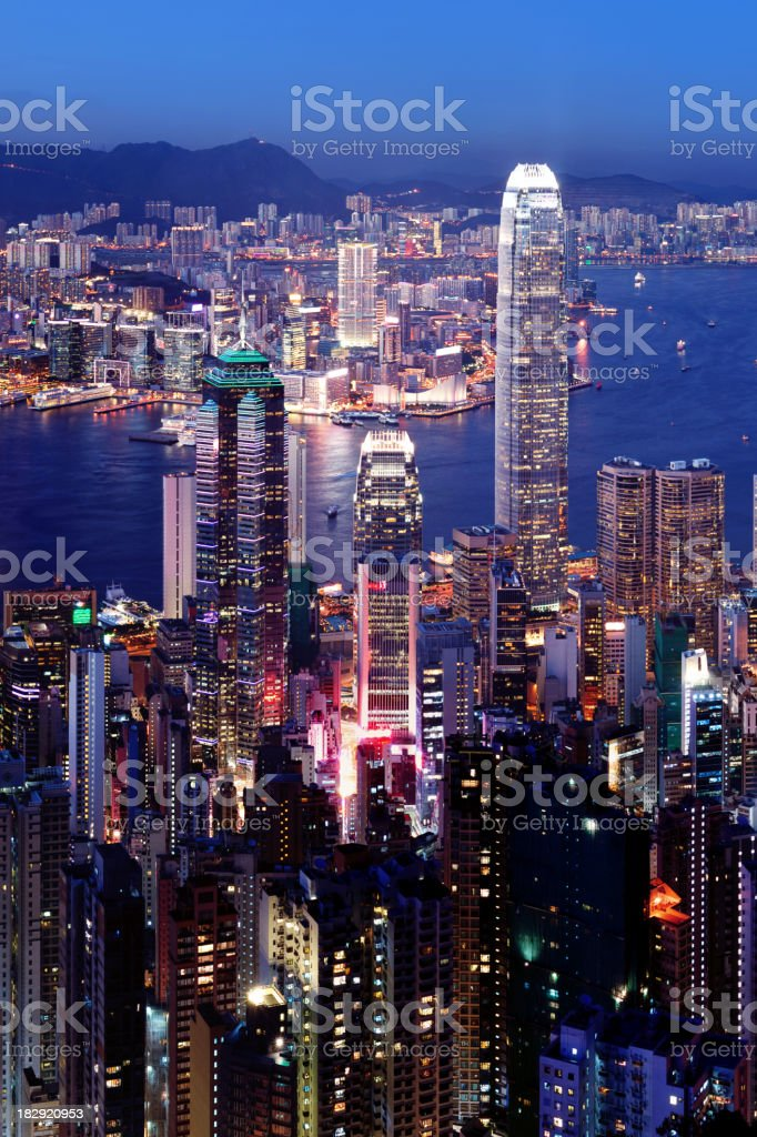The beautiful Hong King Cityscape at night with lights royalty-free stock photo