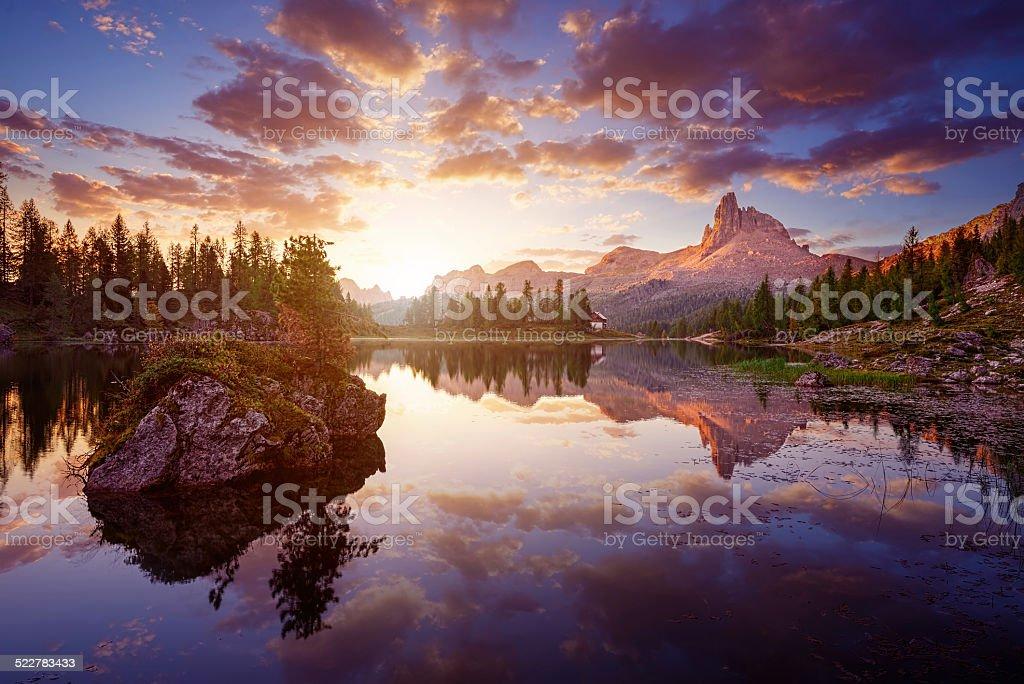 The beautiful  Lago Di federa See  early in morning stock photo