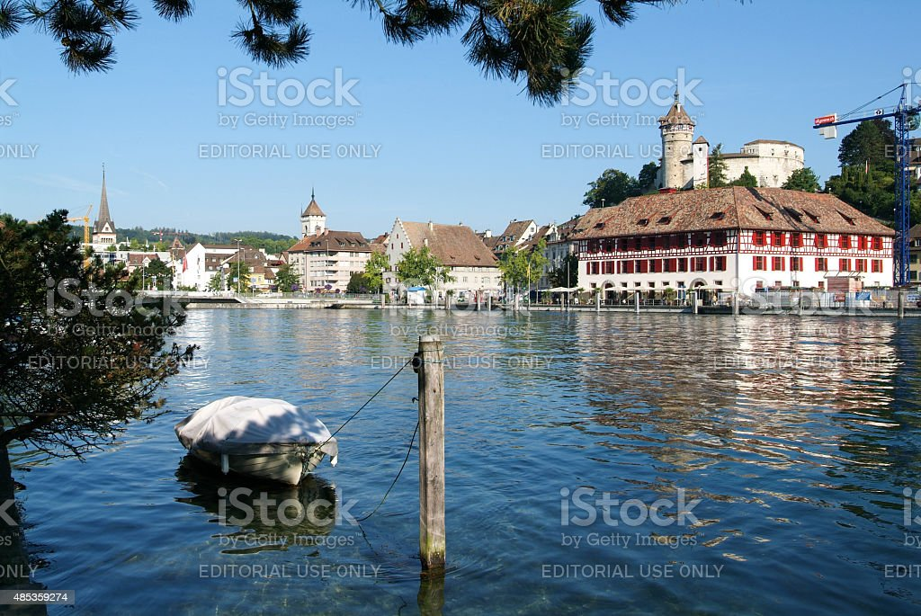 The beautiful medieval town of Schaffhausen and the Rhine river stock photo