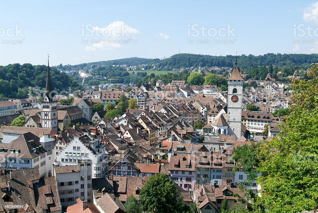 The beautiful medieval town of Schaffhausen stock photo