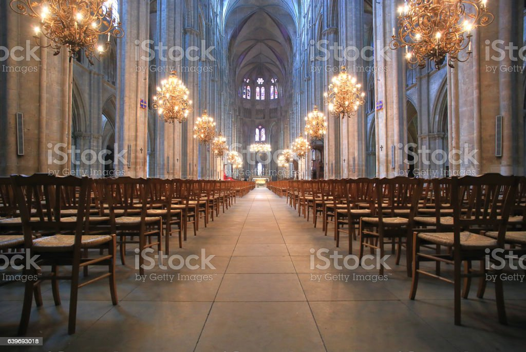 The Beautiful Nave of Cathedral Saint-Etienne in Bourges stock photo