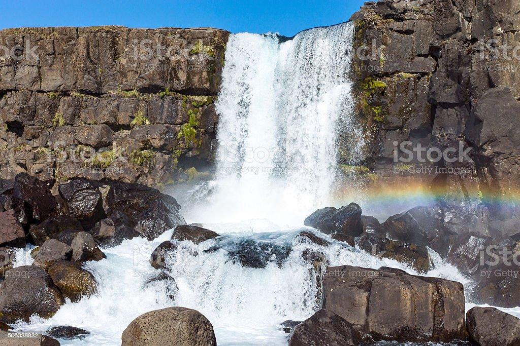 The beautiful Oxarafoss waterfall stock photo