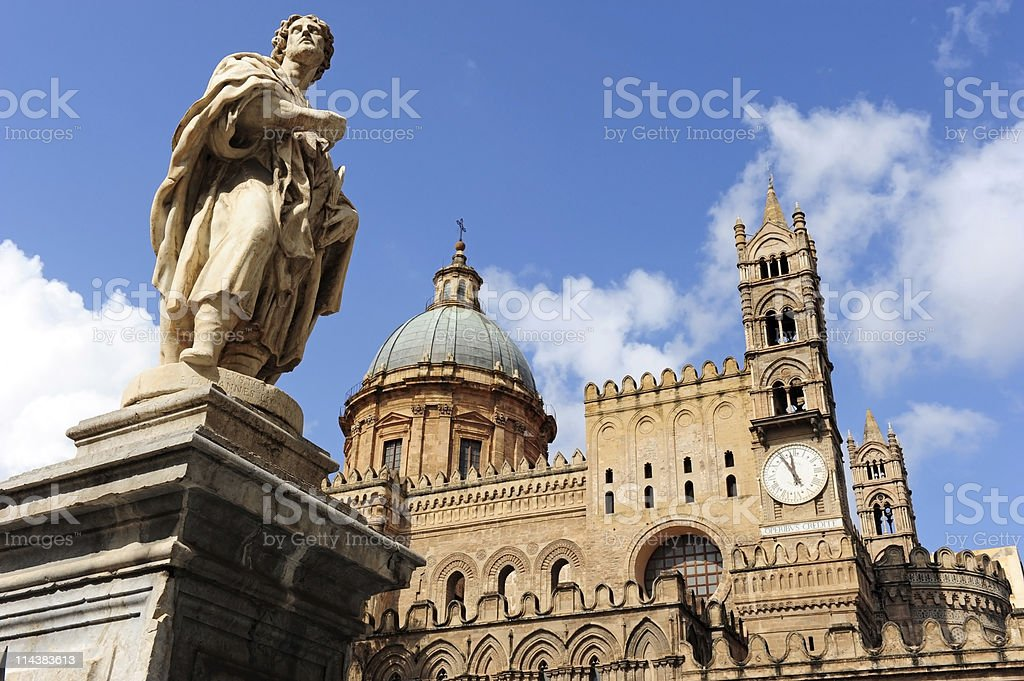 The beautiful Palermo cathedral stock photo