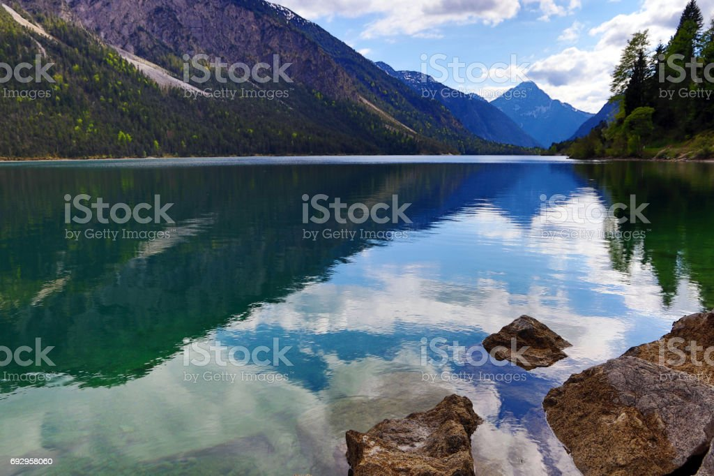 The beautiful Plansee in Austria stock photo