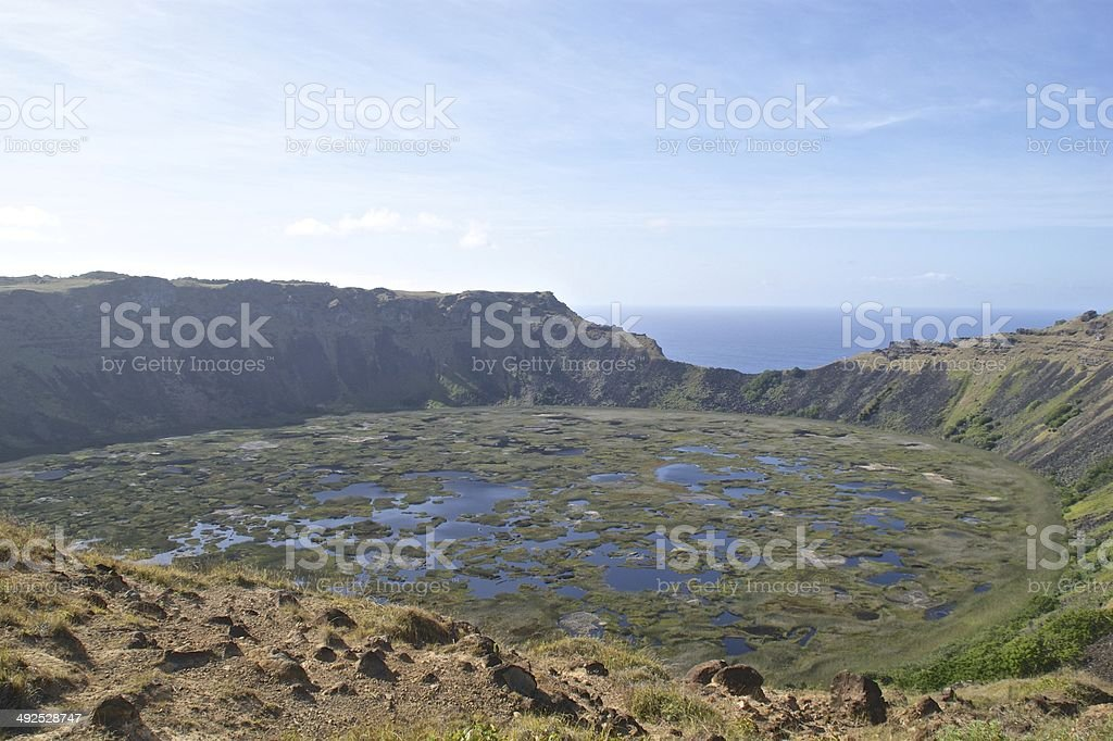 The beautiful Rano Kau volcano crater on Easter Island royalty-free stock photo