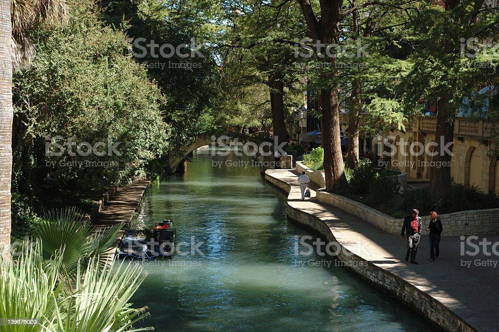 The beautiful River walk in San Antonio, Texas stock photo