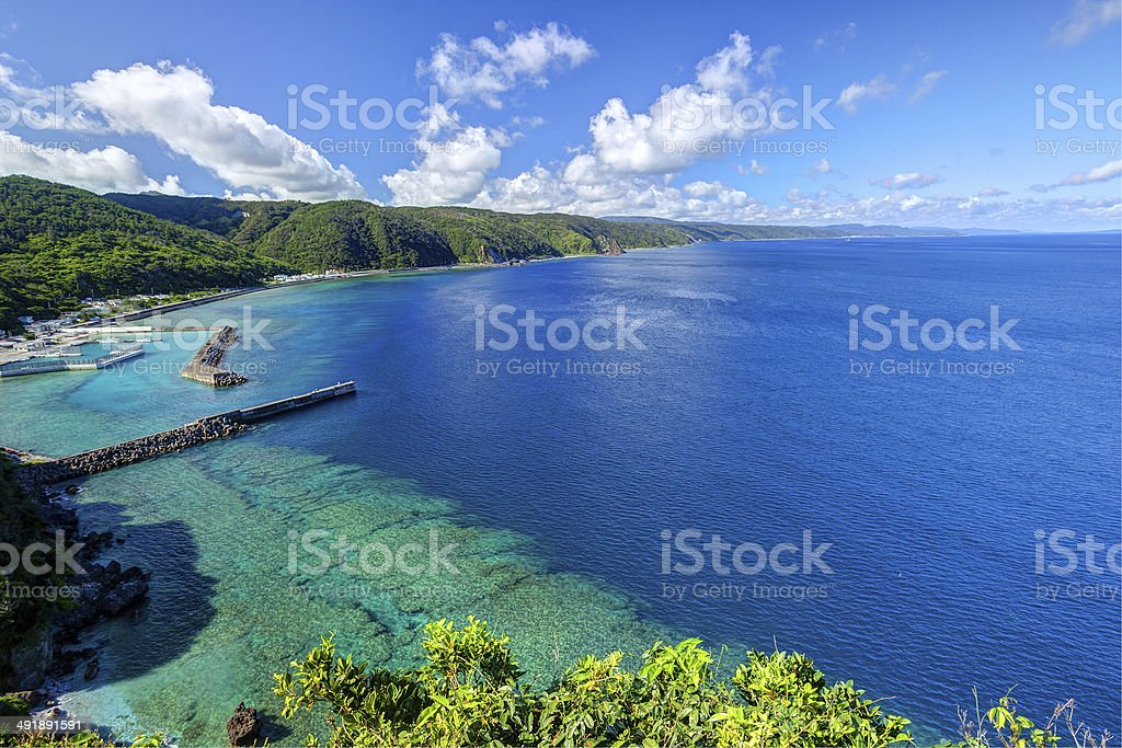 The beautiful sea and sky in Okinawa stock photo