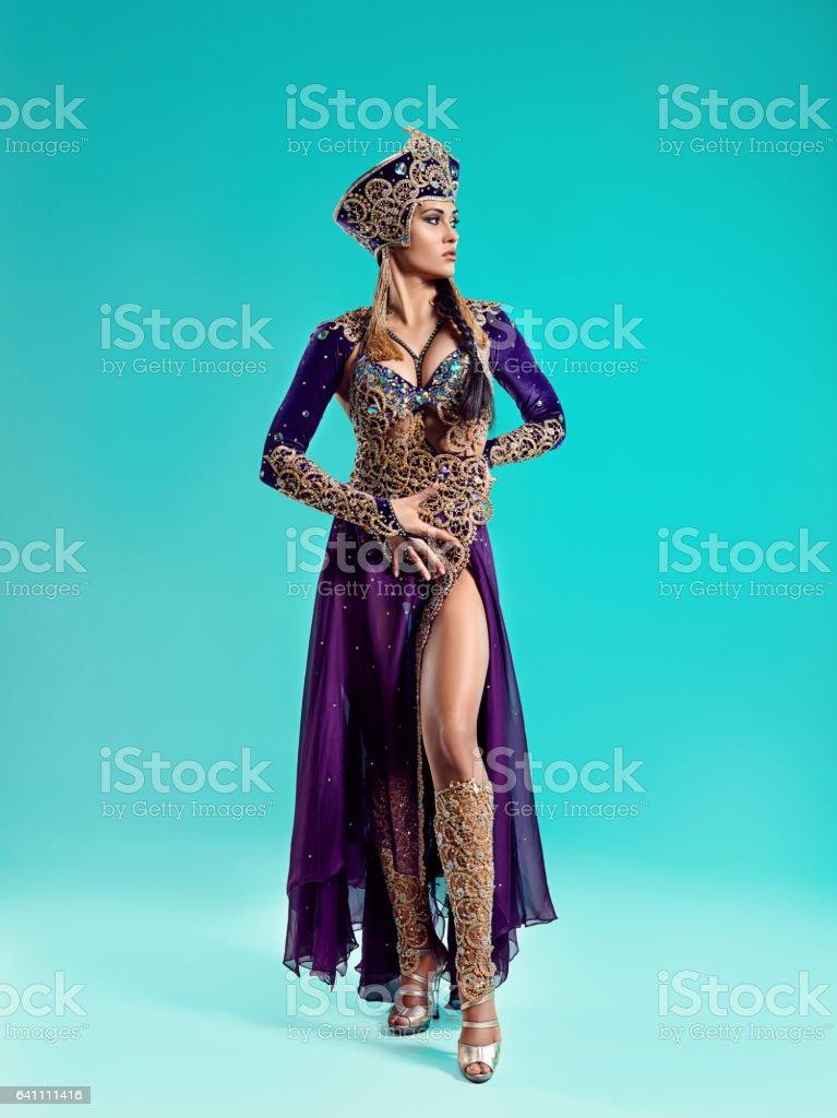 The beautiful sexy stylish brunette young woman as Cleopatra stock photo
