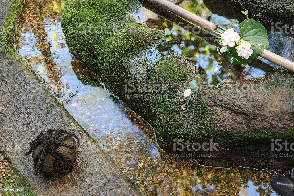 The beautiful spot garden of japanese residence stock photo