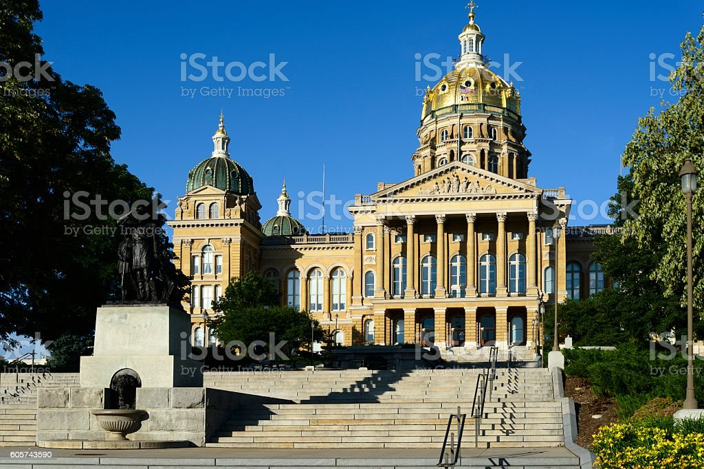The Beautiful State Capitol of Iowa in Des Moines. stock photo